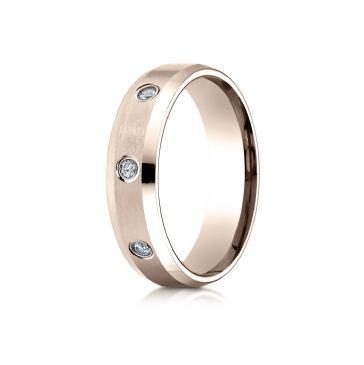 14k Rose Gold 6mm Comfort-Fit High Polish Edge Satin Center Burnish Set 8 Stone Diamond Eternity Ring (.32ct)