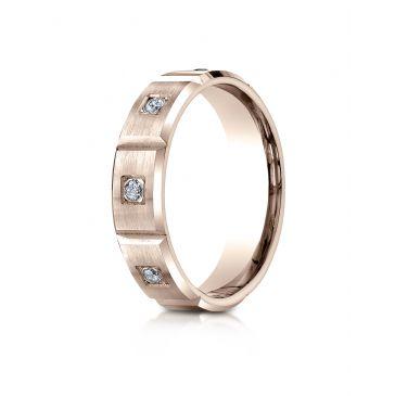 14k Rose Gold 6mm Comfort-Fit Burnish Set 6-Stone Diamond Eternity Ring (.32ct)