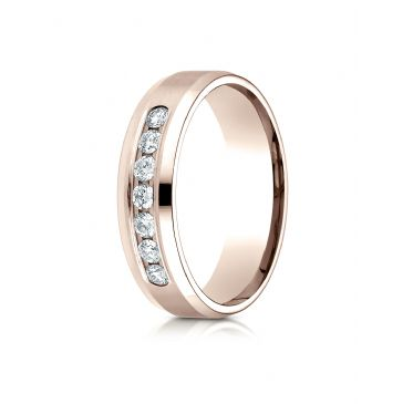 14k Rose Gold 6mm Comfort-Fit Channel Set 7-Stone Diamond  Ring (.42ct)