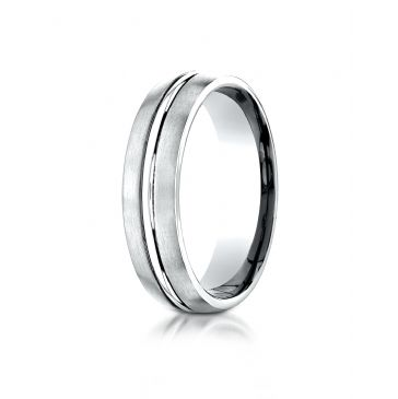 18k White Gold 6mm Comfort-Fit Satin-Finished with High Polished Center Cut Carved Design Band