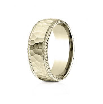 18k Yellow Gold 8mm Comfort-Fit Rope Edge Hammered Finish Design Band