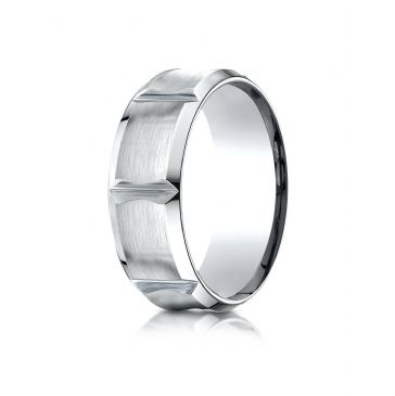 14k White Gold 8mm Comfort-Fit Satin-Finished Beveled Edge Concave with Horizontal Cuts Carved Design Band