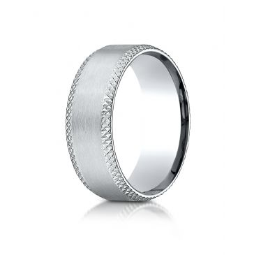 Palladium  8mm Comfort-Fit Satin-Finished Cross Hatched Beveled Edge Carved Design Band