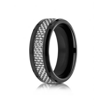 Cobaltchrome 8mm Comfort Fit Ring with white carbon fiber Inlay