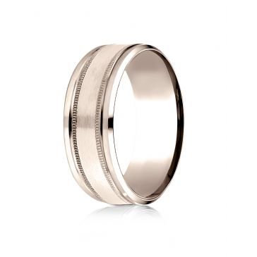 14 Kt Rose Gold 8mm Comfort-Fit Drop Bevel Satin Finish Milgrain  Design Band