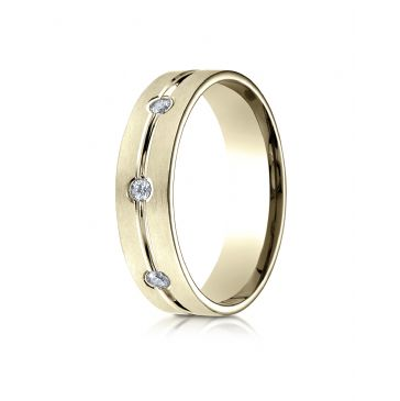 14k Yellow Gold 6mm Comfort-Fit Etched Burnish Set 8-Stone Diamond Eternity Ring (.32ct)