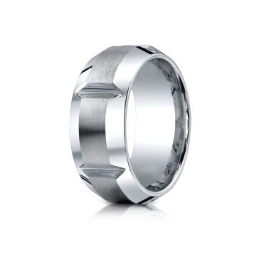 Cobaltchrome 10mm Comfort-Fit Satin-Finished, High Polished Grooves & Beveled Edge Design Ring