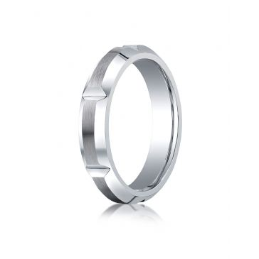 Cobaltchrome 5mm Comfort-Fit Satin-Finished High Polished Grooves & Beveled Edge Design Ring