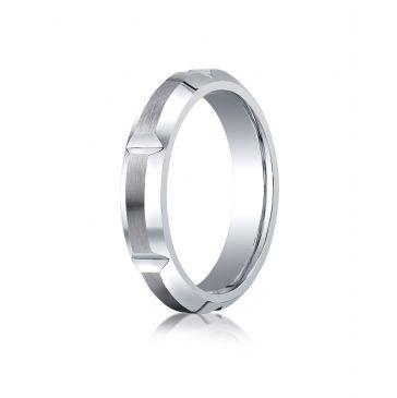 Cobaltchrome 5mm Comfort-Fit Satin-Finished High Polished Grooves & Beveled Edge Design Ring