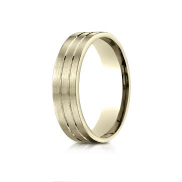10k Yellow Gold 6mm Comfort-Fit Satin-Finished with Parallel Center Cuts Carved Design Band