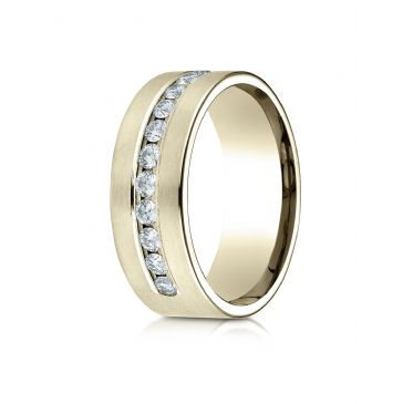 18k Yellow Gold 8mm Comfort-Fit  Channel Set 12-Stone Diamond  Ring (.72ct)