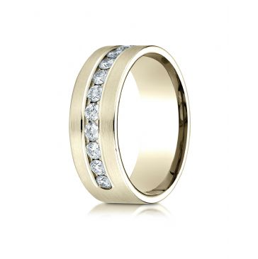 18k Yellow Gold 8mm Comfort-Fit  Channel Set 12-Stone Diamond  Ring (.96ct)