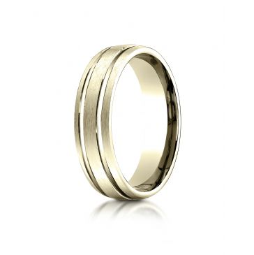 10kYellow Gold 6mm Comfort-Fit Satin-Finished with Parallel Grooves Carved Design Band
