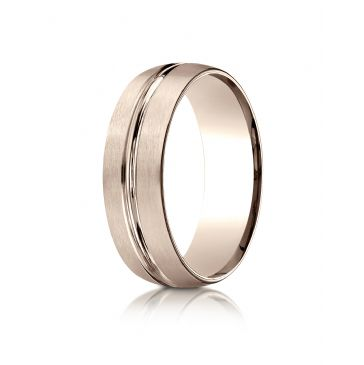 10k White Gold 7mm Comfort-Fit Satin-Finished with High Polished Center Cut Carved Design Band