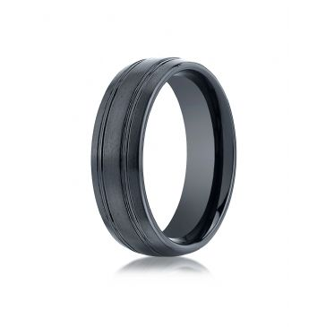 Ceramic 7mm Comfort-Fit Satin-Finished Design Ring