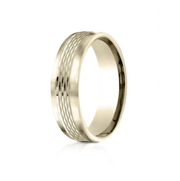 14 Kt Yellow Gold 6.5mm Comfort-Fit Mesh Center Satin Finish Edge Design Band