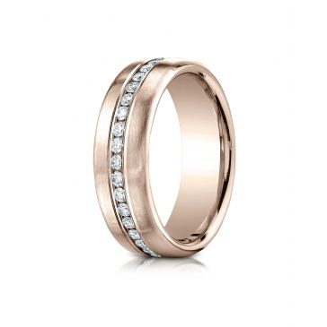 14k Rose Gold 7.5 mm Satin Finish Channel Set  Diamond Ring 0.4 ct