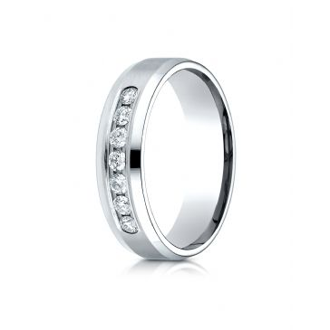 18K White Gold 6mm Comfort-Fit Channel Set 7-Stone Diamond  Ring (.42ct)
