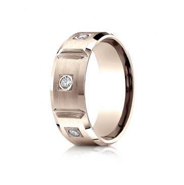 14k Rose Gold 8mm Comfort-Fit Burnish Set 6-Stone Diamond Eternity Ring (.50ct)