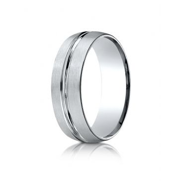 10k White Gold 7mm Comfort-Fit Satin-Finished with High Polished Center Cut Carved Design-Band