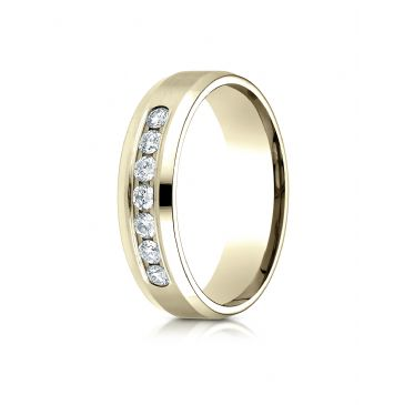 18K Yellow Gold 6mm Comfort-Fit Channel Set 7-Stone Diamond  Ring (.42ct)