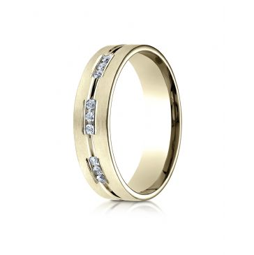 18k Yellow Gold 6mm Comfort-Fit Etched Channel Set 18-Stone Diamond Eternity Ring (.36ct)