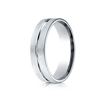 10k White Gold 6mm Comfort-Fit Satin-Finished with High Polished Center Cut Carved Design Band
