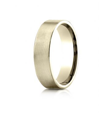 18k Yellow Gold 6mm Comfort-Fit Satin-Finished Carved Design Band