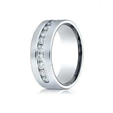 Palladium 8mm Comfort-Fit  Channel Set 12-Stone Diamond  Ring (.96ct)