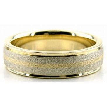 14K Gold Two Tone 6mm Stone Gradient Wedding Bands Bands 213