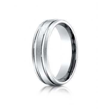 18K White Gold 6mm Comfort-Fit Satin-Finished withParallel Grooves Carved Design Band