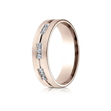 14k Rose Gold 6mm Comfort-Fit Etched Channel Set 9-Stone Diamond  Ring (.18ct)