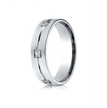 18k White Gold 6mm Comfort-Fit Princess Cut Burnish Set 6-Stone Eternity Ring (.60ct)