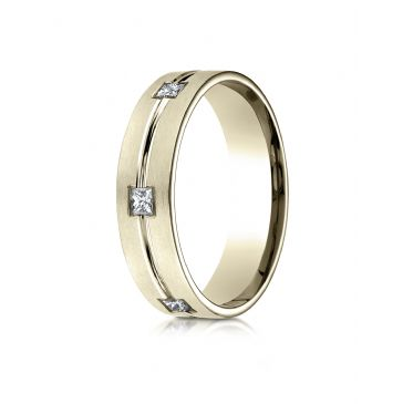 18k Yellow Gold 6mm Comfort-Fit Princess Cut Burnish Set 6-Stone Eternity Ring (.60ct)