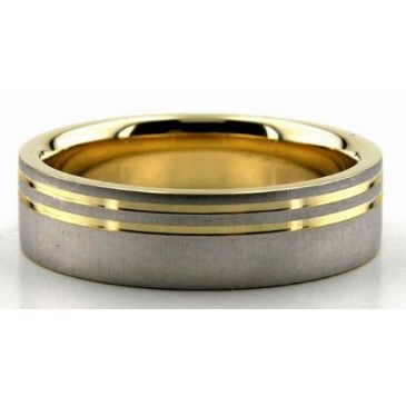 14K Gold Two Tone 6mm Double Shiny Channel Wedding Bands 216