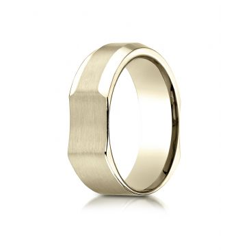 14k Yellow Gold 7mm Ergonomic Comfort-Fit Satin Finish with High Polish Beveled Edge Design Band