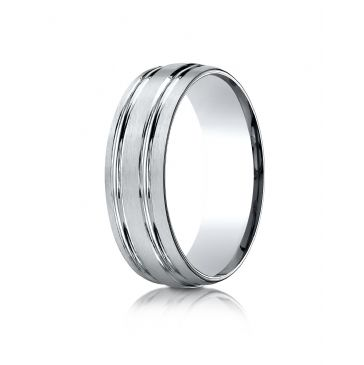 10k White Gold 7mm ComfortFit Satin-Finished with Parallel Grooves Carved Design Band