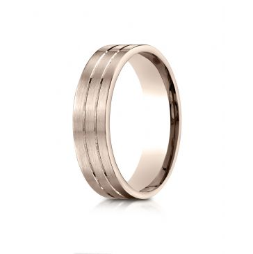 14k Rose Gold 6mm Comfort-Fit Satin-Finished with Parallel Center Cuts Carved Design Band