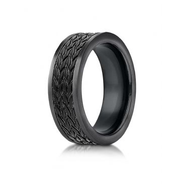 Blackened Cobaltchrome 8 mm Comfort Fit Ring with treaded pattern