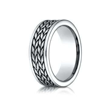 Cobaltchrome 8 mm Comfort Fit Ring with treaded pattern
