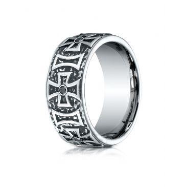 Cobaltchrome 9mm Comfort-Fit 6-Stone Black Diamond Maltese Cross Design Ring (0.33)ctw