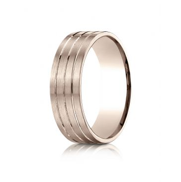 14k Rose Gold 7mm Comfort-Fit Satin-Finished with Parallel Center Cuts Carved Design Band