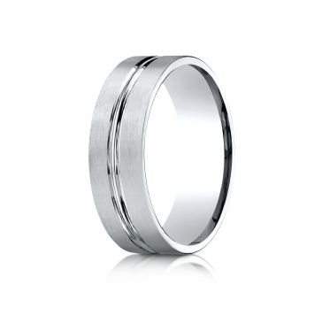 14k White Gold 7mm Comfort-Fit Satin-Finished with High Polished Center Cut Carved Design Band