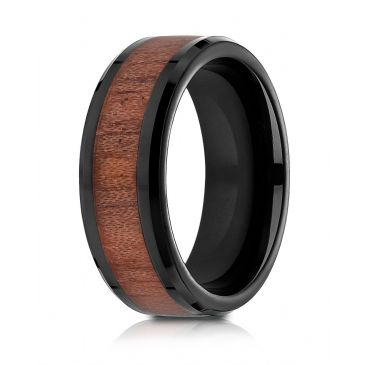 Blackened Cobaltchrome 8mm Comfort-Fit Drop Beveled Rosewood Inlay Cobalt Ring