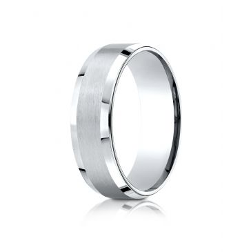 18k White Gold 7mm Comfort-Fit Satin-Finished with High Polished Beveled Edge Carved Design Band
