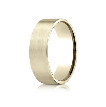 18k Yellow Gold 7mm Comfort-Fit Satin-Finished Carved Design Band