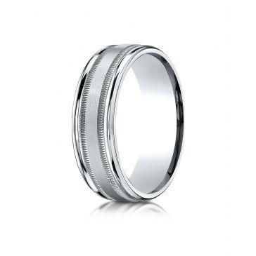 Platinum 7mm Comfort-Fit Satin Finish Center with Milgrain Round Edge Carved Design Band