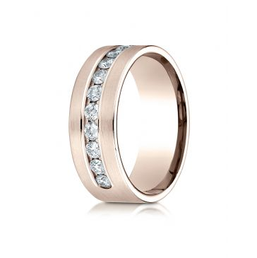 14k Rose Gold 8mm Comfort-Fit  Channel Set 12-Stone Diamond  Ring (.96ct)