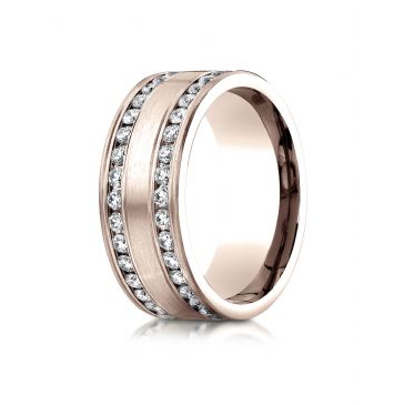 14k Rose Gold 8mm Comfort-Fit Double Row Channel Set 66-Stone Diamond Eternity Ring (1.32ct)