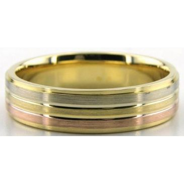 14K Tri Color Rose, Yellow, and White Gold 6mm Wedding Bands 232